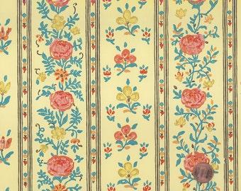Vintage 1960s Wallpaper-Elegant Floral Stripe-Schumacher