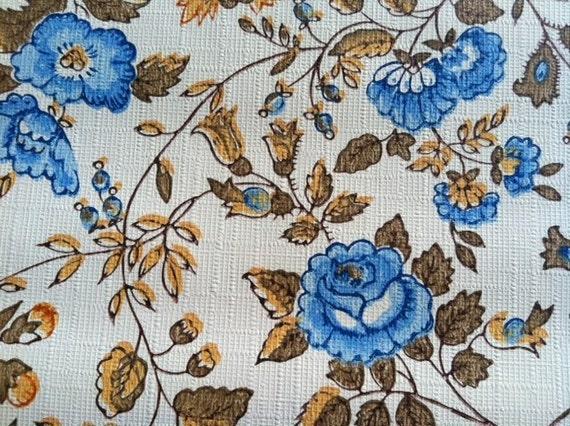 Vintage Wallpaper-1960s Elegant Blue Roses- by the Yard