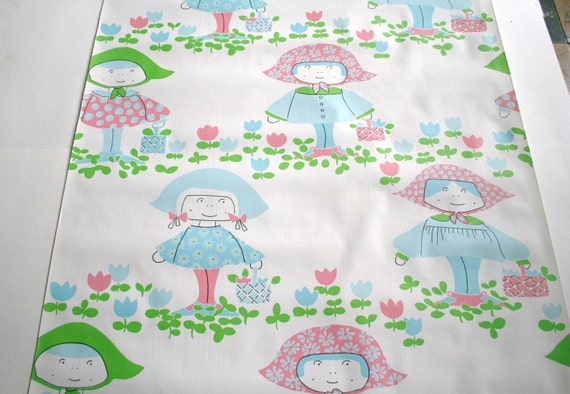 Vintage 1970s Wallpaper- Sweet Retro Girls with Picnic Baskets in Green and Blue- by the yard