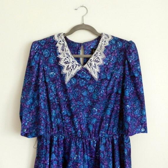 floral lace collar dress, l-xl