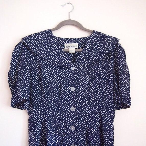 navy polka dot button down sailor collar dress, m-l