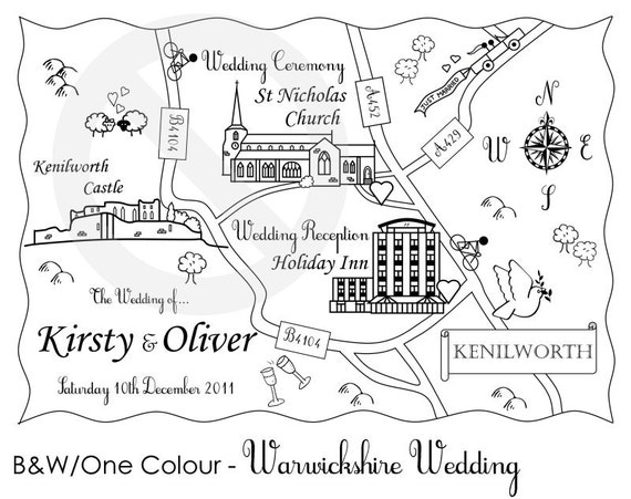 Custom Map - Cute Wedding Map. We're Moving or Party Map