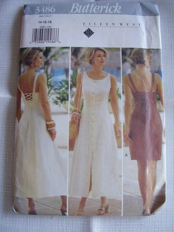 Eileen West Dress Pattern Sleeveless Sundress 1994 Butterick 3486 UNCUT