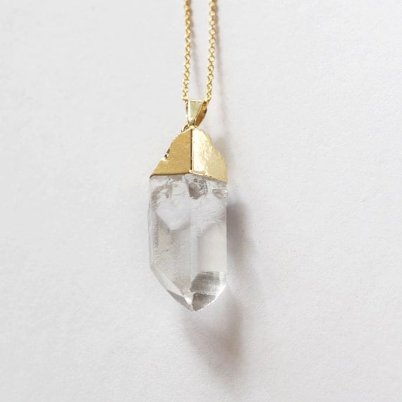 Gold dipped quartz pendant // Gold plated chain // crystal necklace // Fall Jewelry