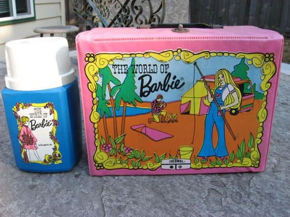 Vintage vinyl lunch box The World of Barbie with thermos