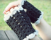 Black and Gray Beautiful Short Fingerless Gloves Mitts Lacy Frilly Pretty Feminine Goth (Made to Order)