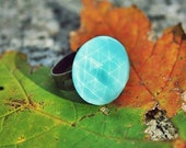Vintage Aqua Blue Faceted Glass Cocktail Ring Adjustable Setting Autumn Fall Turquoise