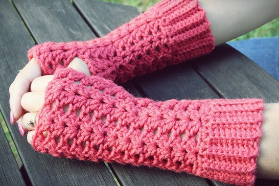 Made to Order: Crochet Rouge Pink long lacy fingerless gloves Romantic Feminine Elegant Beautiful Valentine's Day