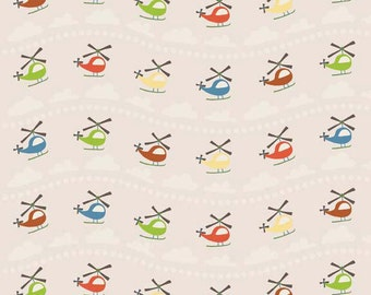 Scoot by Deena Rutter for Riley Blake Designs, Helicopter Cream, SKU C2721, 1 yd