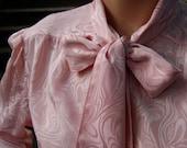 Vintage 80's Secretary Pink Bow Long Sleeve Blouse