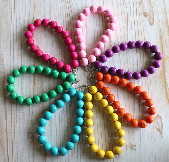 Rainbow Wood Chunky Little Girls Necklaces