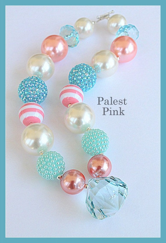 Pearly Peach little girls Chunky Necklace by PalestPink on Etsy