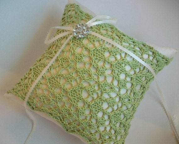 Green and Ivory Lace Ring Bearer Pillow-Crystal Wedding Pillow- Lace Wedding Pillow Heirloom- Silk Green Ring Pillow, Bridal Pillow Vintage