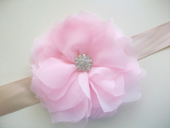 Flower Bridal Sash- Champagne and Blush Pink- Bridal Belt Wedding Sash- Crystal Sash, Beaded Wedding Sash, Pink Bridal Sash Bridal Belt SALE