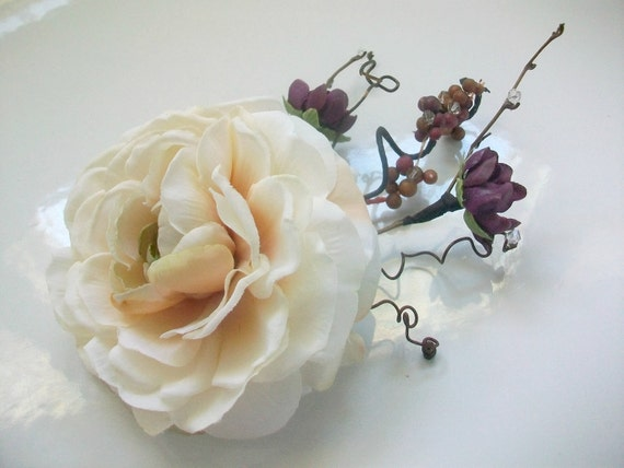CUSTOM ORDER for Danielle: Ranunculus Flower Bridal Hair Accessory in Cream and Purple with Berries, Twigs, and Swarovski Crystals