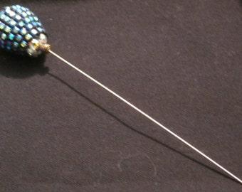 Hat Pin 12: Blue Iridescent Hat Pin