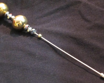 Hat Pin 44: Silver and Gold Beaded Hat Pin