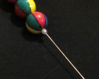 Hat Pin 45: Mullti-Colored Beaded Hat Pin