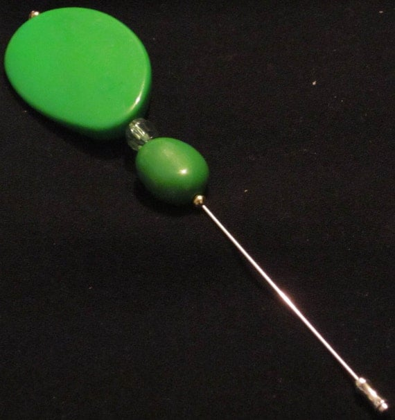 Hat Pin 20: Green Beaded Hat Pin