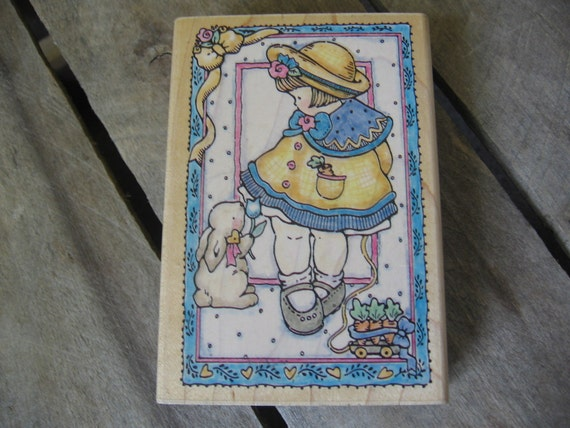 Easter Girl and Rabbit Rubber Stamp 587K For Goodness Sake 1996 by Penny Blake Easter Rubber Stamp