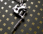 Sterling Silver Tattoo Gun Charm Necklace : Silver