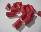 Two-Toned Red Rolled Paper Beads