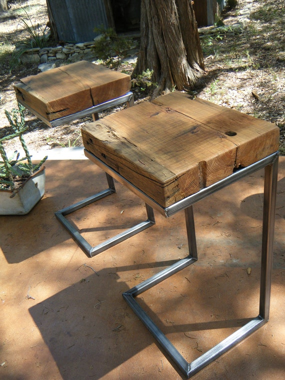 Modern Rustic Side Table 100 Years Old Longleaf Pine