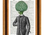 Artichoke man Print, Dictionary Art Vintage Print, Wall Art, Kitchen Art, Upcycled book page print