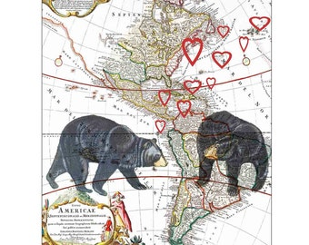 American black bears loving, Matte Love Print, Loving, lovers, hearts, 8X10 print,  on old map of AmericaValentine's day Gift