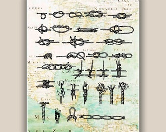 Marine Knots, Sailor knots, Nautical art, East Coast  America map,  Marine decor, coastal living, beach cottage decor, 11x14
