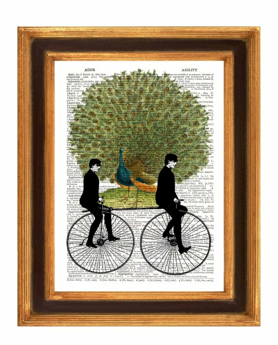 Twins on Bikes Peacock Print, Dictionary art Print, Upcycled Book page Print  mixed media collage Print,  vintage illustrations