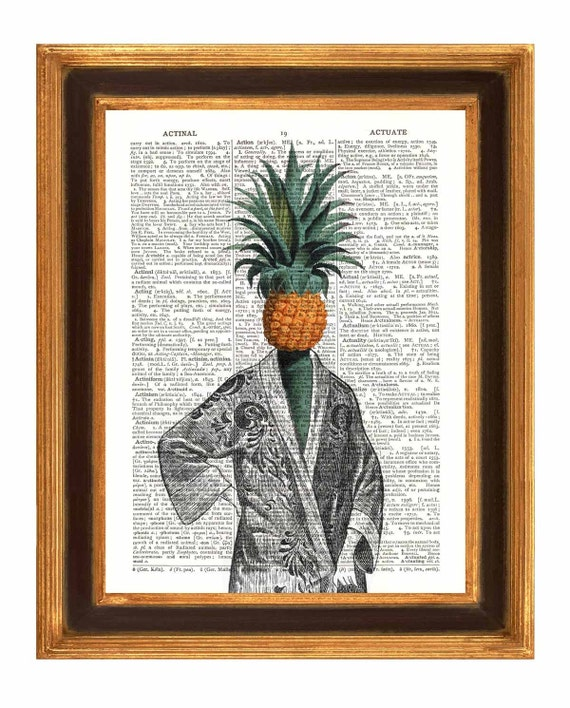 Pineapple Lady  Print, Dictionary Art Vintage Print, Wall Art, Kitchen Art,  Upcycled book page print