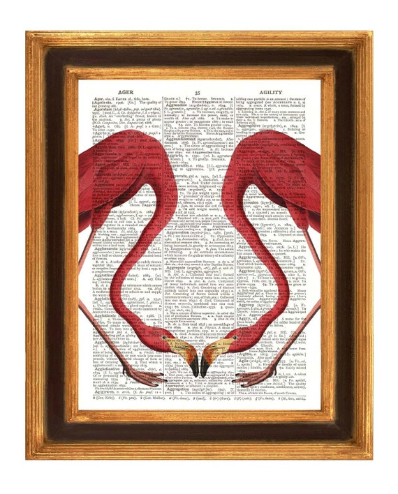 Flamingos print,  vintage illustration Dictionary art prints Upcycled Book page Upcycled Dictionary page Art Print