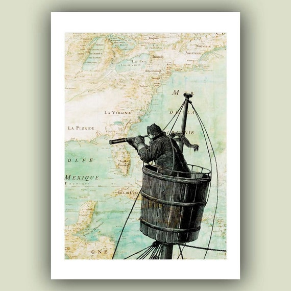 Sailor on lookout duty in  the crow's nest Print, 5x7 Print on antique  map of East Coast  America Wall Art Print, Matte Print