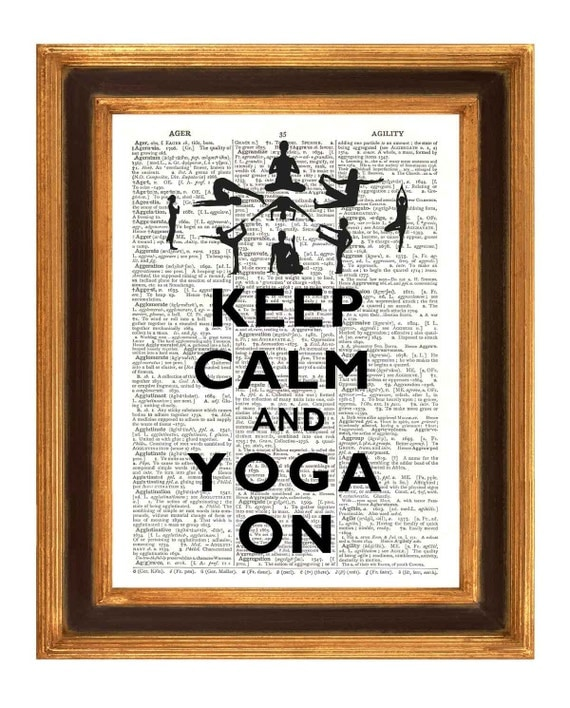 Keep calm Print, Keep calm and yoga on Poster,  printed on old upcycled dictionary page. Dictionary art Print