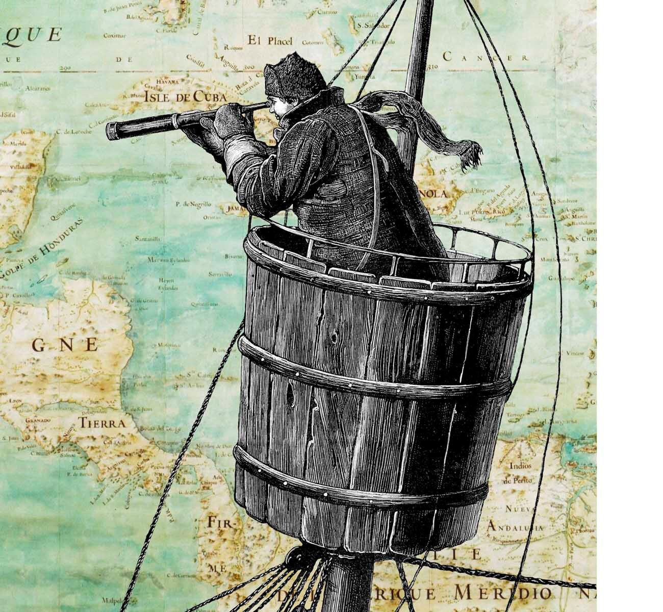 Sailor on lookout duty in the crow s nest print on