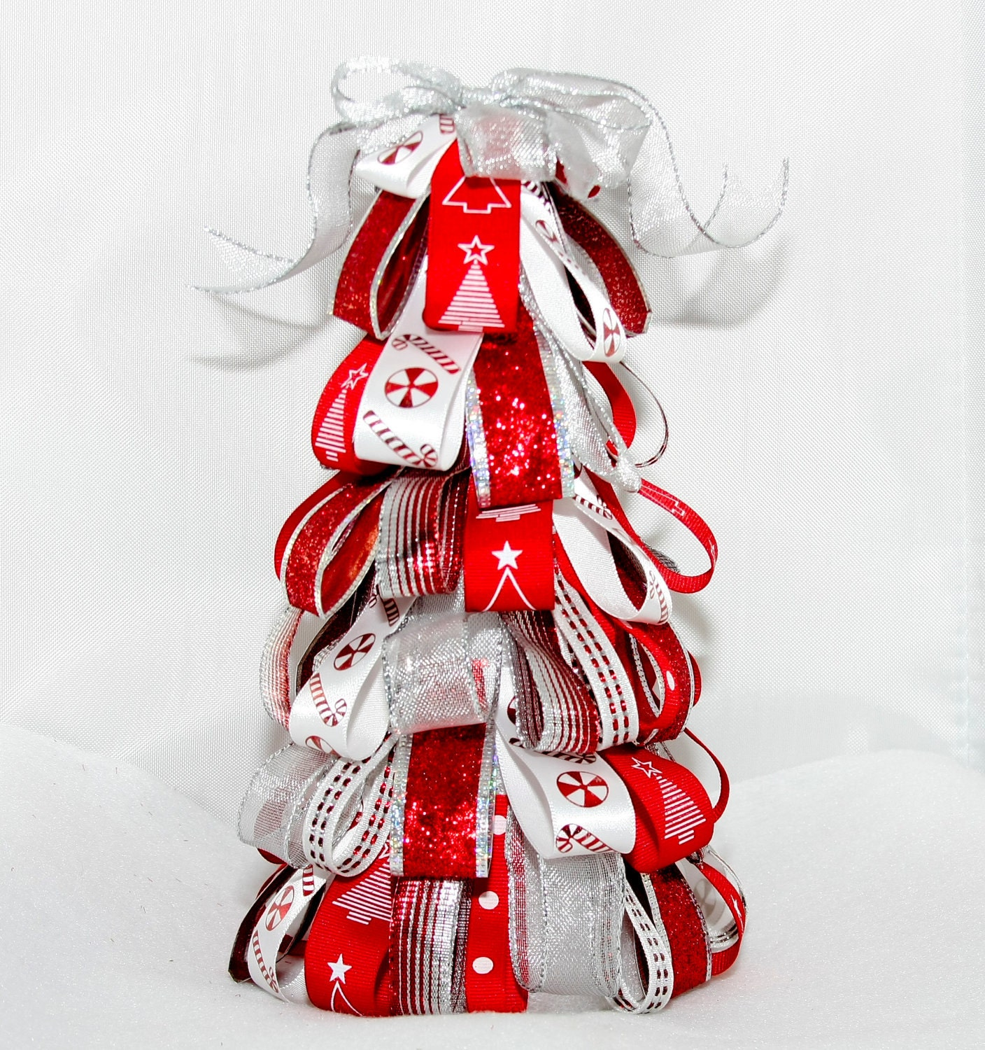Christmas Tree With Red Ribbon: Ribbon Christmas Tree In Red White And By BootiesBowsandBling