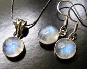 Last one - Rainbow Moonstone Necklace - Blue Twilight - Solid sterling silver bezel setting - Team Finnick - by Twilight Eyes Studio
