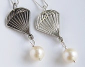 """Parachute pearl necklace - SOLID STERLING SILVER - freshwater pearl  - 18"""" sterling chain - The Hunger Games - by Twilight Eyes Studio"""