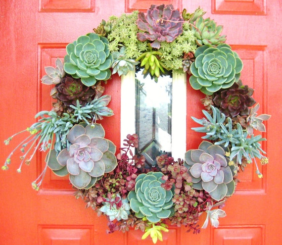 "Reserved BsStudio for 18"" Succulent Living Wreath - Perfect Unique Gift and Home Decor"
