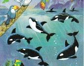 Rare Vintage Gibson Orca Whales Underwater Sticker Sheet 80's  Scrapbook