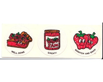 Vintage CTP Scratch and Sniff Strawberry Sticker Strip - 80's Berry
