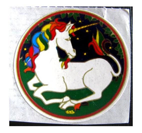 Rare Vintage Illuminations White Unicorn Sticker - 80's Rainbow Mane Scrapbook Collage Starry Night