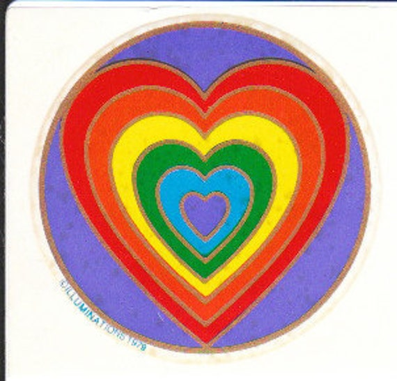 Rare Vintage Illuminations Purple Rainbow Heart Sticker 1979