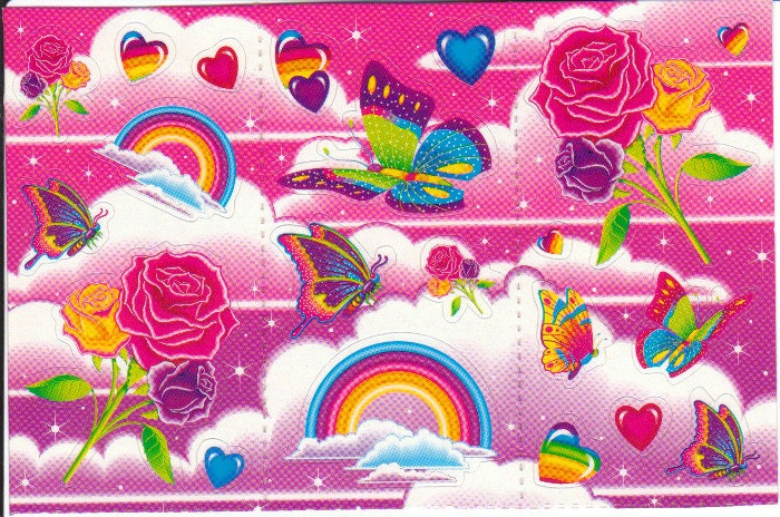 Rare Vintage Lisa Frank Butterflies Roses and Rainbows Sticker