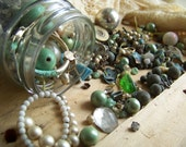 Vintage Beads and Jewelry findings lot, Greens and Blues and pearls
