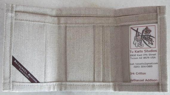 Cotton Linen Trifold Wallet.