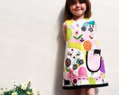 Girls Dress -toddler- happy days - sizes 6m-1t-2t-3t-4t-5t