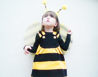 BEE-Girls Dress-yellow & black cotton corduroy-Sizes 6m-1t-2t-3t-4t-5t-6t