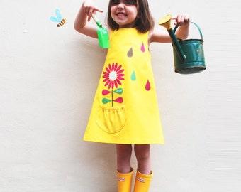 Girls Dress, Scandinavian flower, yellow
